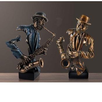 Abstract 57cm Musician Figurine Resin Art Saxophone Bust Statue 2