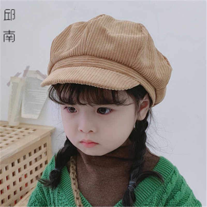 2019 Fall Winter Solid  Warm Kids Children Newsboy Hat Cap Soft Girl Fashion Accessories Outdoor-QNC