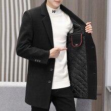 Outwear de negócios masculino casual outono inverno algodão casaco plussize streetwear pesado lã casaco comprimento médio longo blusão