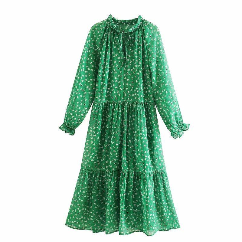 2020 New Spring Summer New Style European Printed Chiffon Dress Women Green Dress Zaraing Vadiming Sheining Women Female Dress