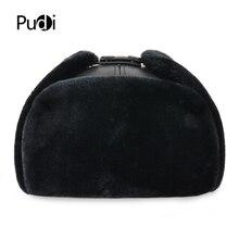 HL074 ผิววัวแท้หนังผู้ชาย BOMBER หมวกกับหู FLAP รัสเซียฤดูหนาว Faux FUR Earmuffs หมวกสีน้ำตาลสีดำสี
