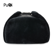 HL074 genuine cow skin leather men #8217 s Bomber hats with ear flap Russian winter Faux fur Earmuffs caps brown black colors cheap pudi Unisex Adult Print