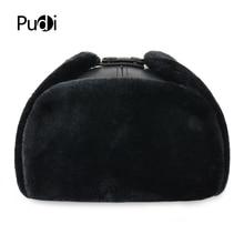 HL074 hakiki inek derisi deri erkek bombacı şapka kulak flep ile rus kış Faux kürk Earmuffs kapaklar kahverengi siyah renkler