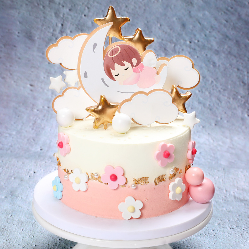 Magnificent Angel Moon Baby Cake Topper Lovely Cake Picks Cupcake Toppers Funny Birthday Cards Online Amentibdeldamsfinfo