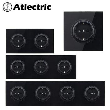 Atlectric EU/DE/RU 16A Socket Crystal Glass Switch Wall Socket Crystal Glass Panel 110-250V Wall Power Socket Outlet welaik brand free shipping crystal glass panel eu wall satellite socket european standard outlet a18saw