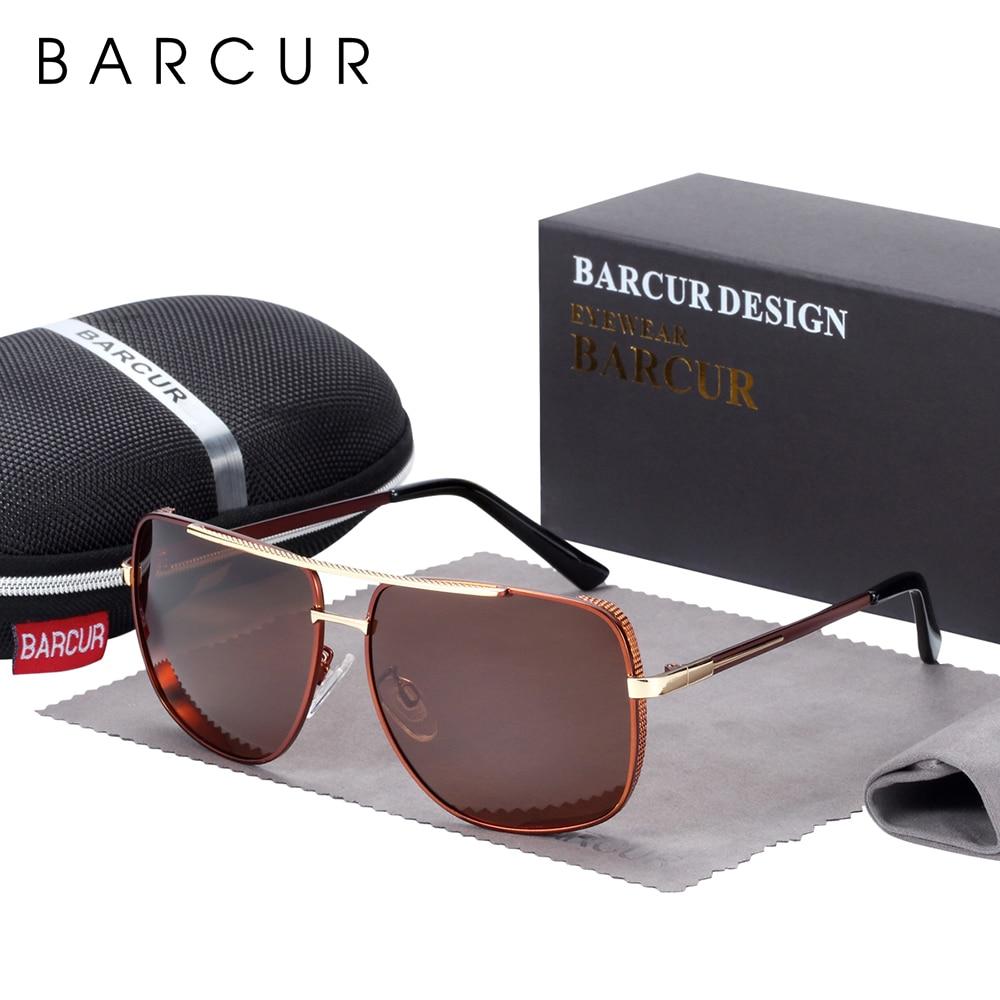 Image 5 - BARCUR lunettes de soleil carrées polarisées  Lunettes de soleil de conduite pour hommes, oculos de solLunettes de soleil homme   -