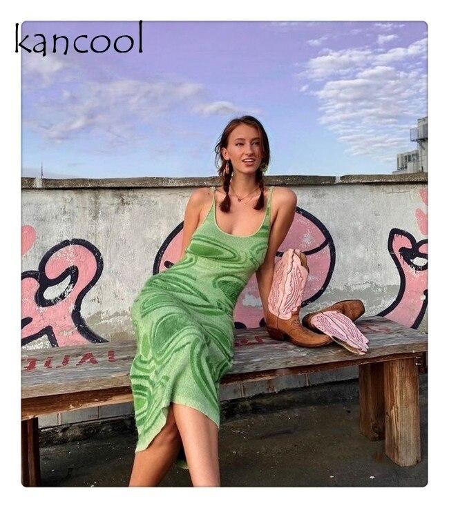 Женское трикотажное облегающее платье с принтом KANCOOL, зеленое летнее ажурное сексуальное платье-миди без рукавов на бретелях-спагетти для в...