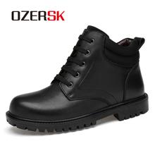 OZERSK jesień mężczyźni buty buty do kostki ze skóry naturalnej męskie koronki Up antypoślizgowe buty brytyjski buty robocze Plus rozmiar Zapatos De Hombre tanie tanio Pracy i bezpieczeństwa CN (pochodzenie) Prawdziwej skóry ANKLE Stałe Cotton Fabric Okrągły nosek RUBBER Wiosna jesień