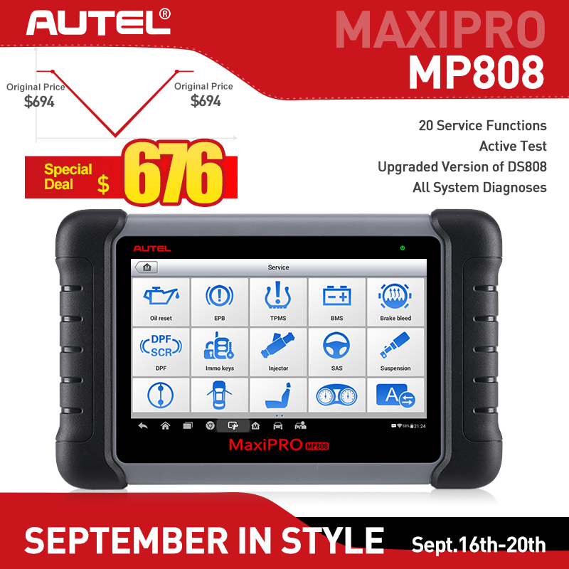 New Autel MaxiPRO MP808 Car Diagnostic Tool Automotive Scanner Auto Full System Test OBD Autoscanner PK Maxisys MS906 DS808-in Engine Analyzer from Automobiles & Motorcycles    1