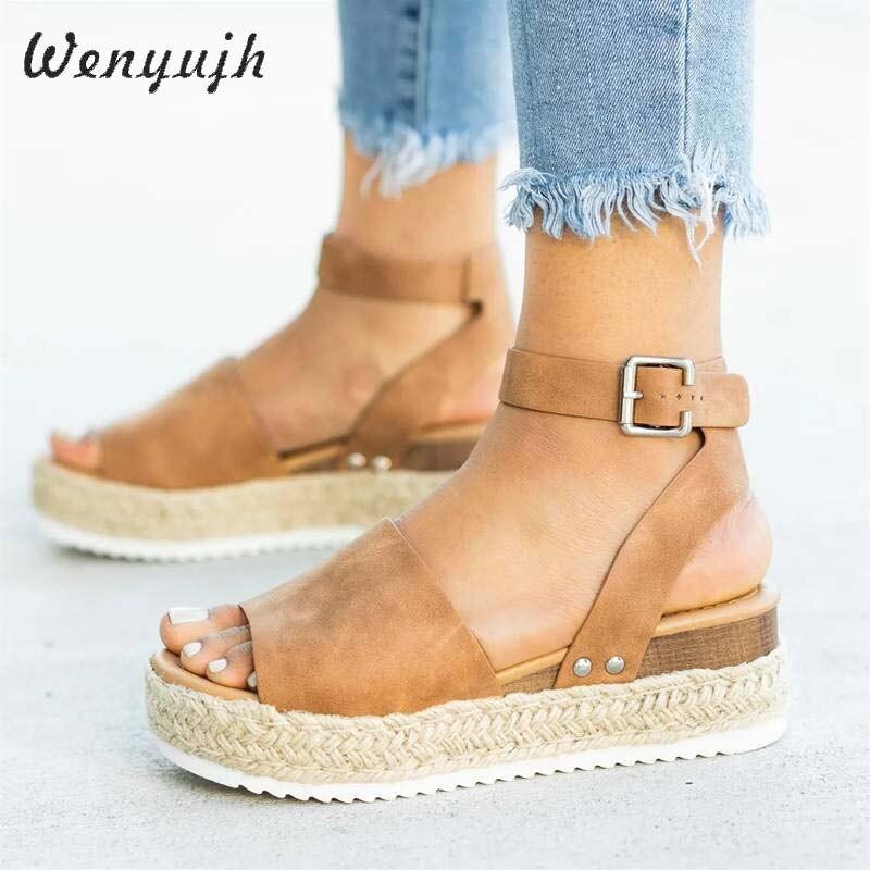 WENYUJH Wedges Shoes Women High Heels Sandals Summer Shoes 2020 Flop Chaussures Femme Platform Sandals 2020 Dropshipping