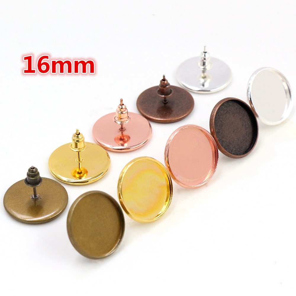 16mm 20pcs 5 Colors Plated Earring Studs,Earrings Blank/Base,Fit 16mm Glass Cabochons,earring Setting;Earring Bezels