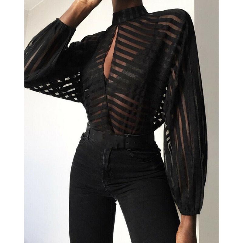 New Fashion Women Mesh Blouse Ladies Sexy Hollow V Neck Shirt Casual Long Sleeve Tee Tops Balck Transparent Clubwear