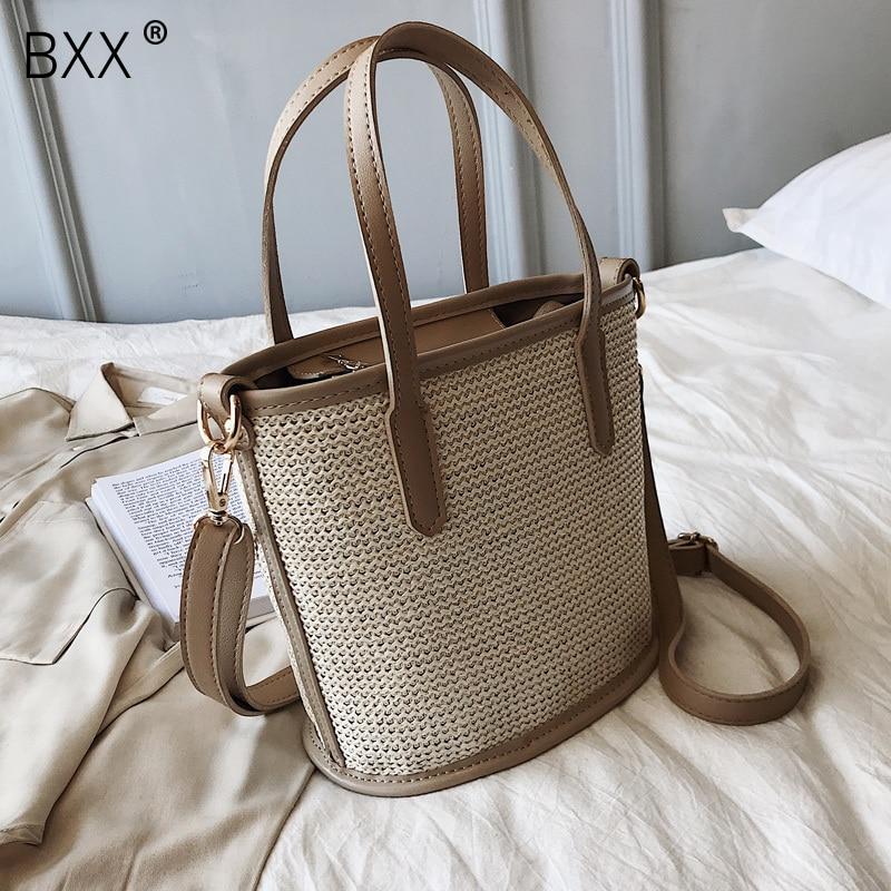[BXX] Vintage Straw Crossbody Bucket Bags For Women 2020 Summer Small Shoulder Messenger Bag Lady Phone Handbags Purses HL810