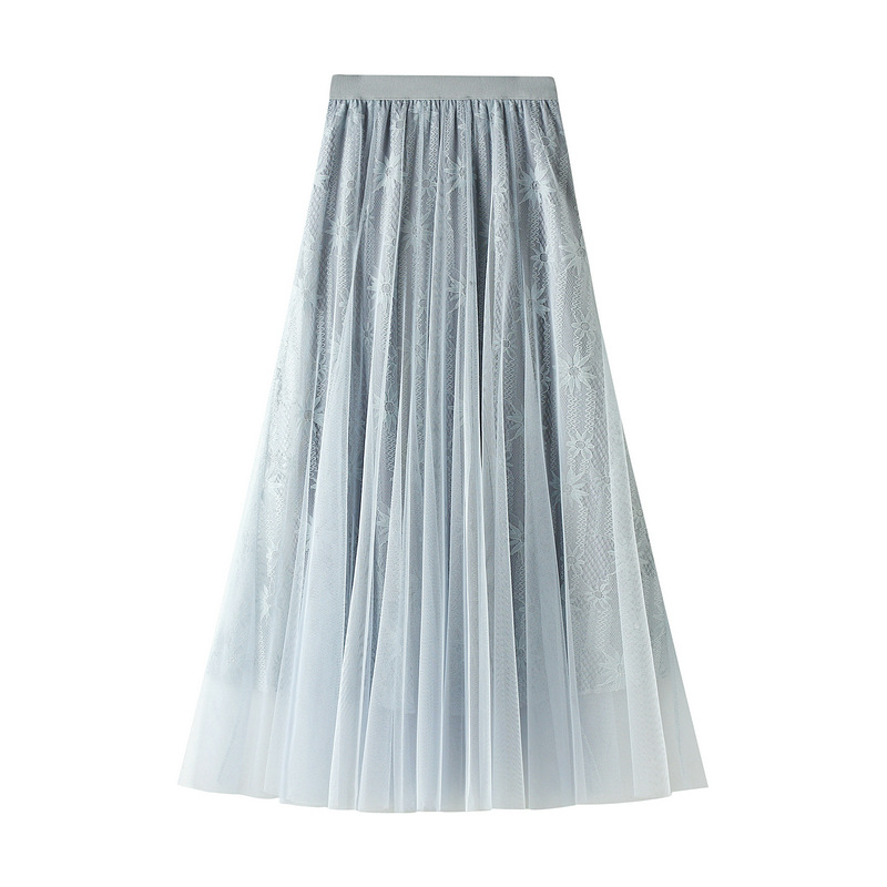 Chiffon Skirt Urban Outfitters Spring Mesh WOMEN'S Pleated Sequined Medium-length New Style 2020 Lace A- Line Gauze Skirt