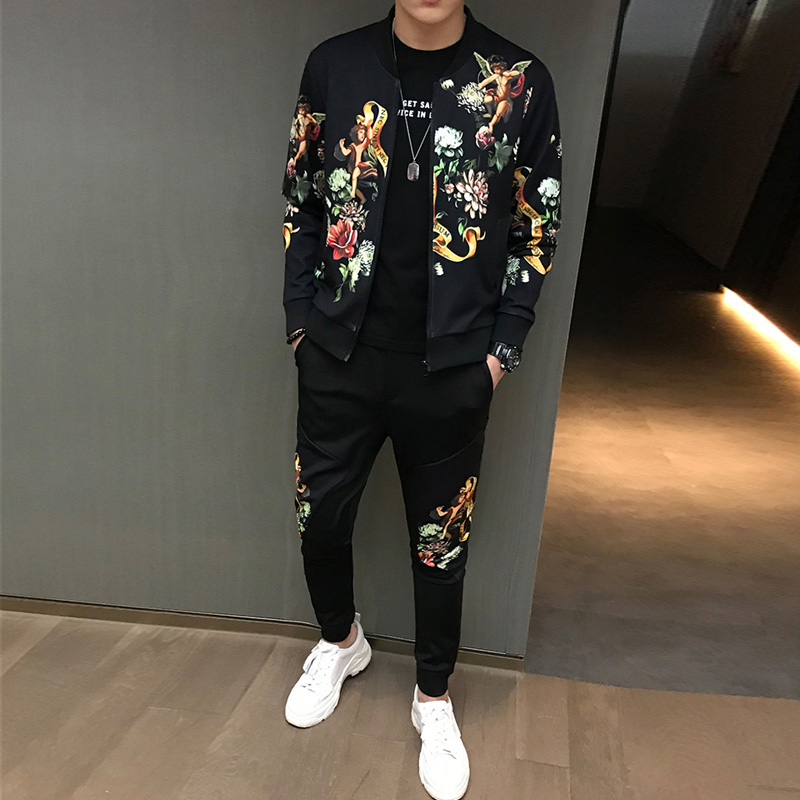 Fashion Mens Pattern Printing Sweatshirt Long Sleeve Jacket Long Casual Trousers 2pcs Set Floral Character Printed Size M-5XL Z3