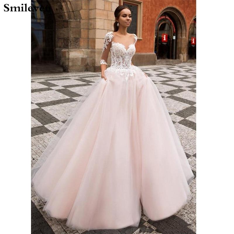 Smileven A Line Wedding Dress  Boho Bridal Dresses Half Sleeves Arabic Vestido De Noiva Wedding Gowns Turkey Style