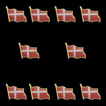 10PCS Denmark Waving Epoxy Flag Hat/Bag/ Lapel Pin Brooch Wholesale Proudly Made in China denmark waving epoxy flag lapel pin badge brooch clothes hat tie accrssories