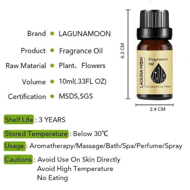 Lagunamoon 10ml Fragrance Oil Black Opium For Aroma Perfume Soap Making Candles DIY  Air Fresh Coconut Vanilla White Musk 5