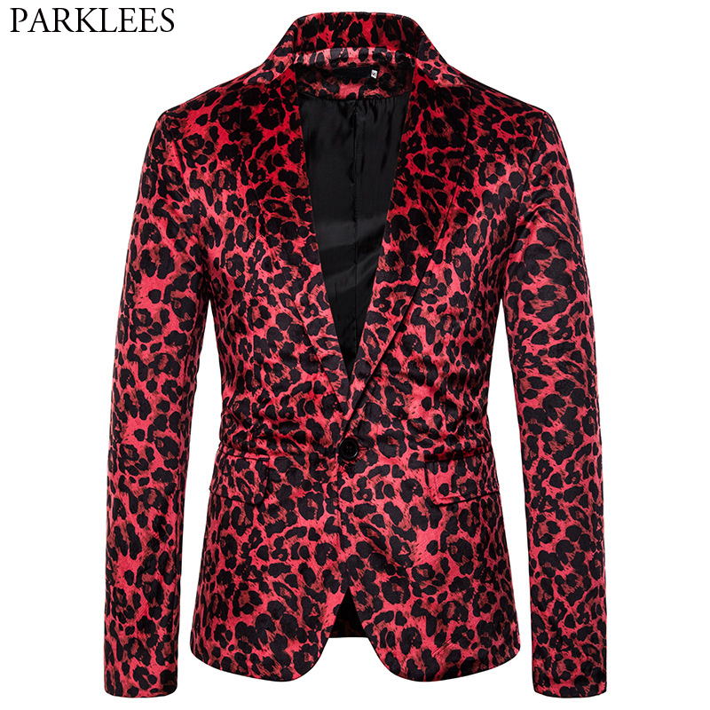 Sexy Leopard Print Red Blazer Jacket Men One Button Slim Fit DJ NightClub Bar Blazers Mens Party Prom Stage Costumes For Singers