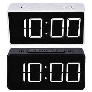 Mirror Alarm Clock LED Digital Display Electronic Time Temperature Calendar Table Alarm Clock USB Charging Student Desk Clocks(China)