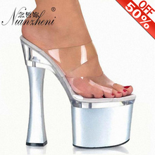 цена на 7 Inch Clear Strappy Crystal Slippers Transparent Sexy Clubbing Snow Exotic Dancer Shoes 8 inch Fashion Sandals Fetish Slipper