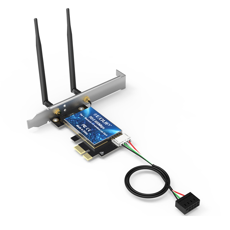 EDUP PCI-E 600Mbps WiFi Card Bluetooth 4.0 Adapter 2.4GHz/5GHz Dual Band Wireless Network Card With Antennas For Desktop PC