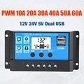 10A 20A 30A 40A 50A 60A Solar Laderegler 12V 24V Auto PWM 5V Ausgang Regler PV home Ladegerät LCD Dual USB