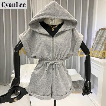 Cyanlee Jumpsuit Women Summer Loose Casual  Romper Women  Streetwear Hooded Short Sleeve Playsuits Fashionable Women Clothing