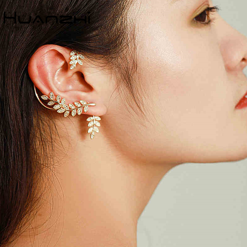 HUANZHI New Leaves Crystal Rhinestone Shiny Fairy Elves Metal Ear hook Clip Earrings for Women Party Jewelry Gift