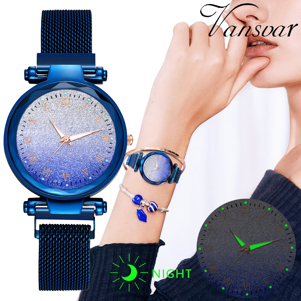 Casual Women Romantic Women's  Quartz Magnet Buckle Stainless Steel Sky Luminous Watch  Reloj Mujer Clock Relogio Feminino#C