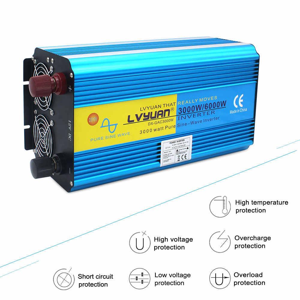 3000W/6000W czysta fala sinusoidalna przetwornica napięcia transformator DC 12V/24V do AC220V/230V/240V CAMPING łódź konwerter z pilotem
