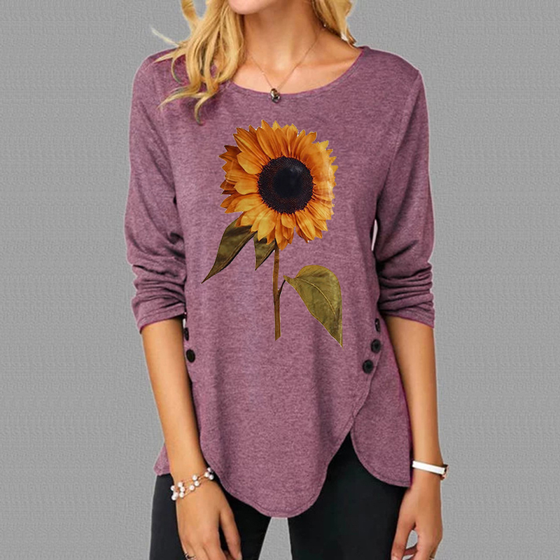 New Fashion Dragonfly Flower Print T-shirt Women Shirts Long Sleeve Ladies Loose Tops Woman Shirt Casual Loose Pullover