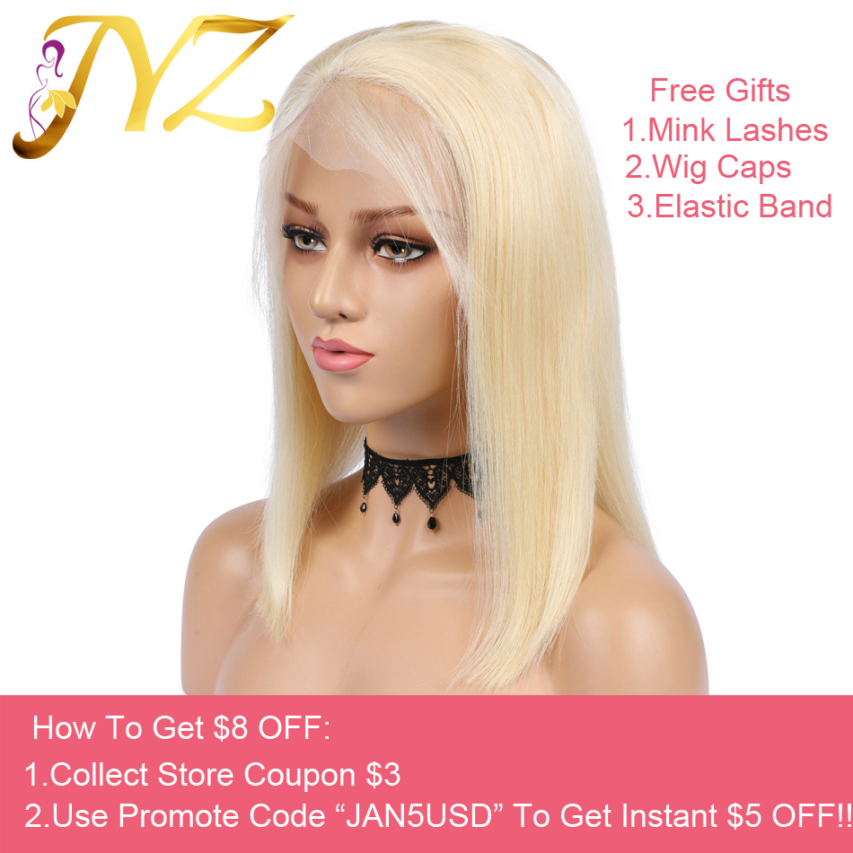 Glueless 613 Blonde 13x4 Lace Front Human Hair Wigs Bob Brazilian Straight Lace Front Wig Pre Plucked  Remy Lace Wigs For Black