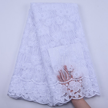 Zhenguiru Nigerian African Lace Fabrics 5 Yards Milk Silk Lace High Quality African French Lace Fabric For Wedding Dress A1885