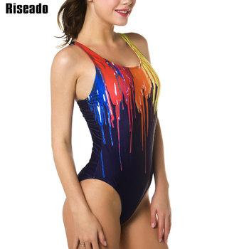 Riseado One Piece Swimsuit 2021 Sport stroje kąpielowe dla kobiet drukowanie farby stroje kąpielowe kobiety Racer powrót kostiumy kąpielowe kostiumy kąpielowe tanie i dobre opinie CN (pochodzenie) Poliester NYLON spandex WOMEN Drukuj Pasuje prawda na wymiar weź swój normalny rozmiar B0127-B0129 Wire Free