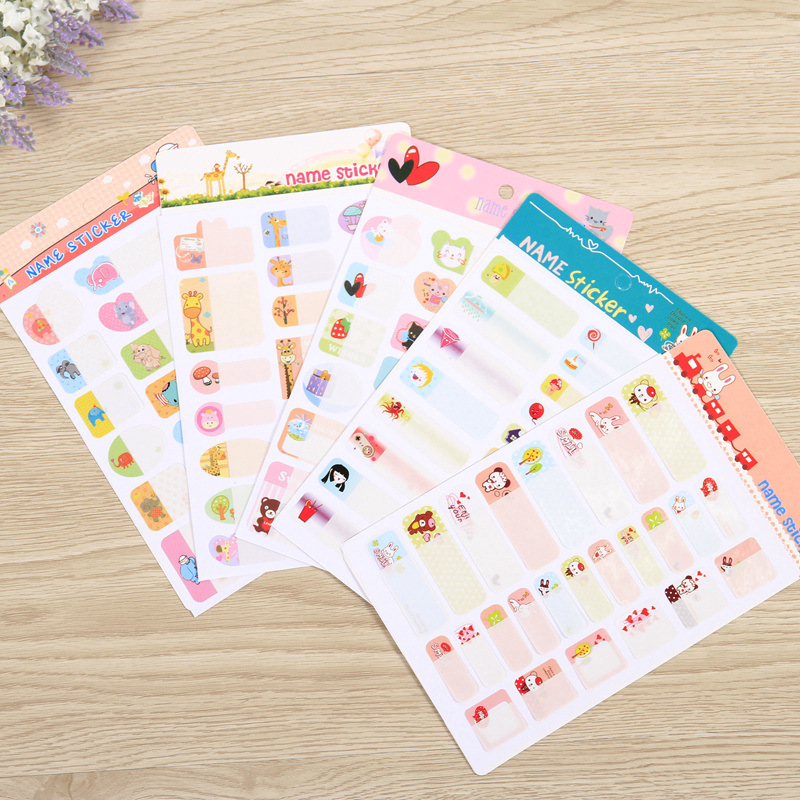 5 Sheets 11.5*19cm Kawaii Name Sticker Self-adhesive Label for School Students Personalized Waterproof Sticky Tags of Name