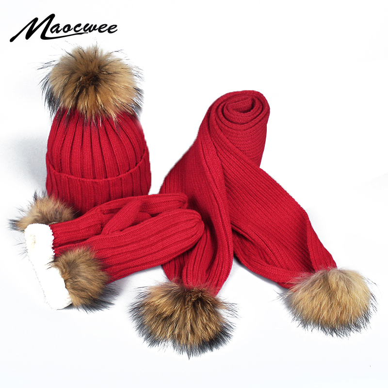 Scarf Hat And Gloves Three-piece Set Women Skullies Beanies PomPon Ball For Wool Knitting Autumn And Winter Warm Striped Cap