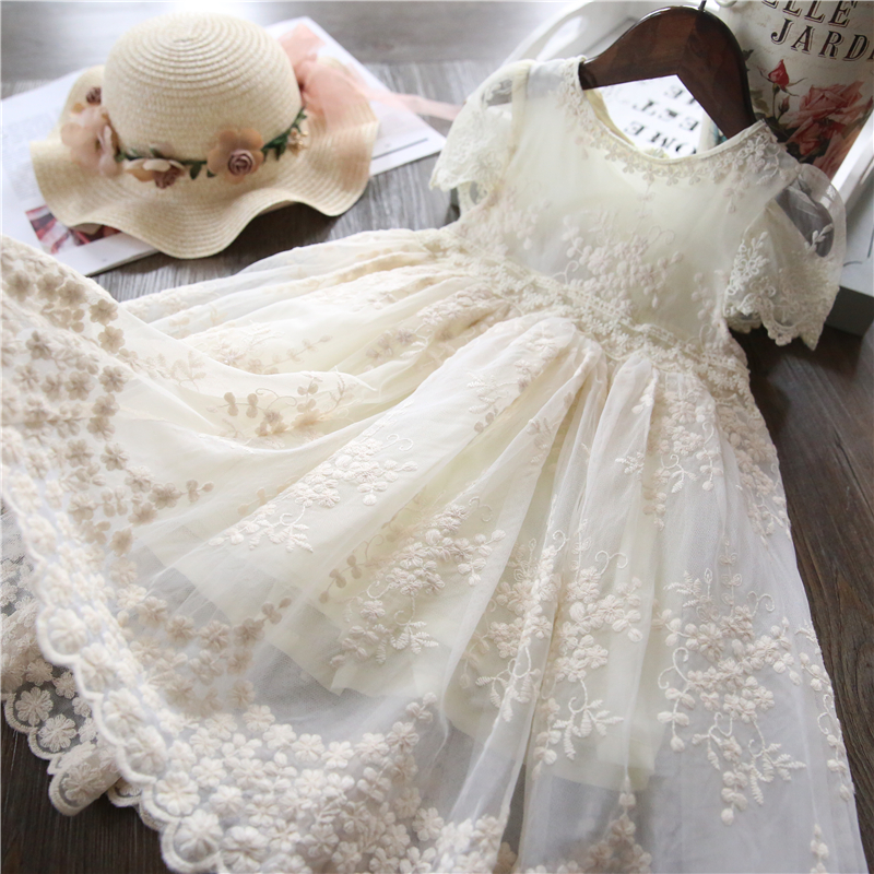 Summer Girl Dress Casual Baby Girls Clothes Kids Dresses For Girls Lace Flower Wedding Gown Children Birthday Party School Wear 2