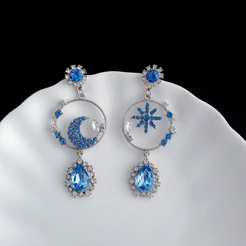 Orgin Summer Unique Design Blue Star Moon Waterdrop Dangle Earrings for Women Luxury Hollow Out Earrings Party Jewelry Drop Ship