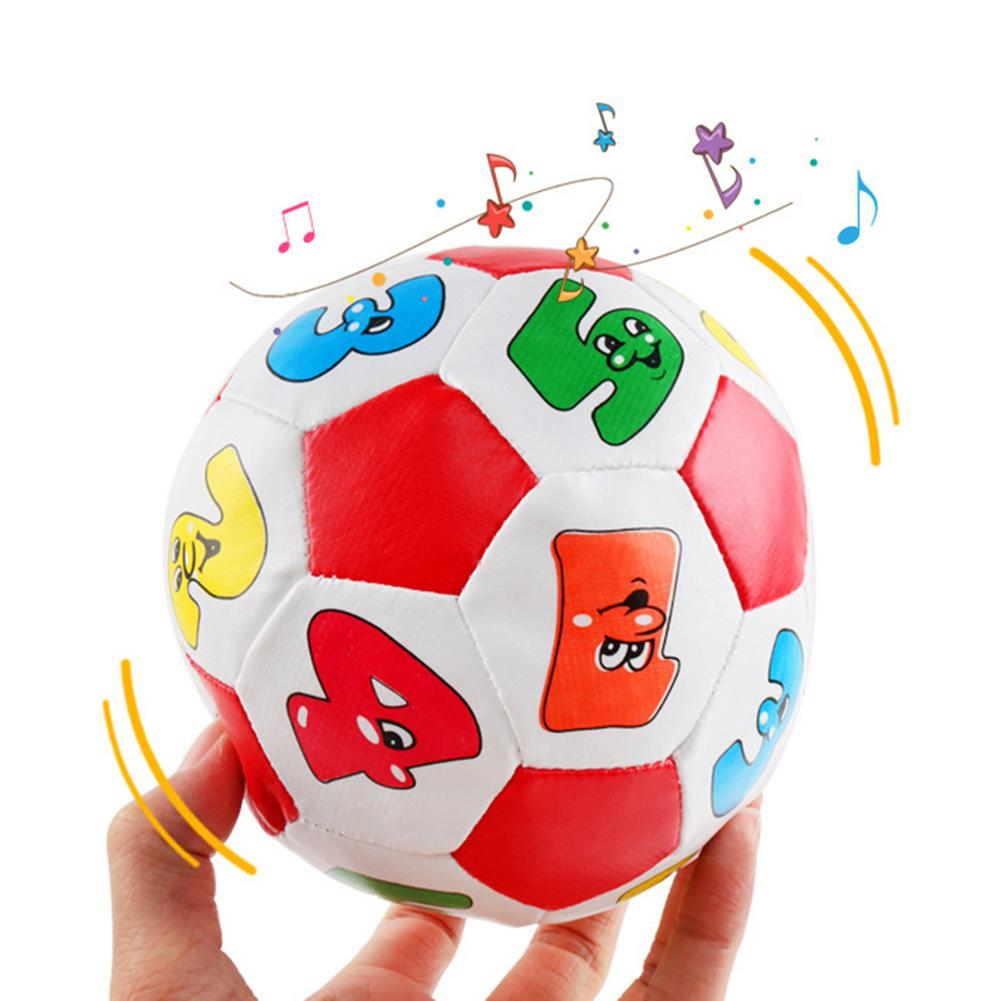 Baby Grip Faux Leather Stuffed Soccer Ball With Chiming Bell Sensory Musical Toy For Kids Children Birthday Xmas Gifts