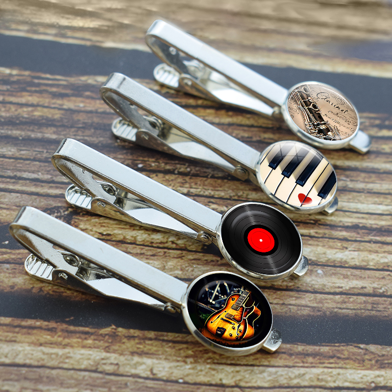 Guitar Tie Clips Music Tie Pins Musical Instrument Piano Guitar Clarinet Flute Print Men Tie Bars Suit Accessories