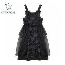 Women Black Gothic Off Shoulder Dresses 2021 Summer Square Collar Ruffle Voile Paty Embroidery Black Sleeveless Vestidos Lady