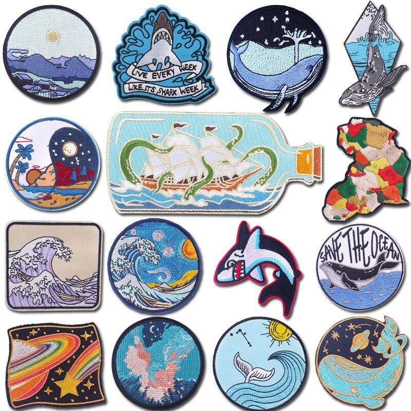 Prajna Cartoons Whale Patch Applique DIY Gestickte Patches für Kleidung Aufkleber Abzeichen Wellen Patch Eisen auf Patches auf Kleidung