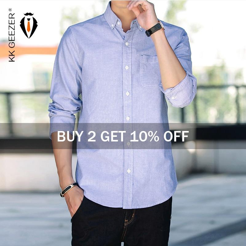 Men Shirt COTTON 100% Mens Oxford Casual Shirts Autumn Long Sleeve Slim Fit Male Tuxedo Dress Shirt Plus Size M-5XL Dropshipping