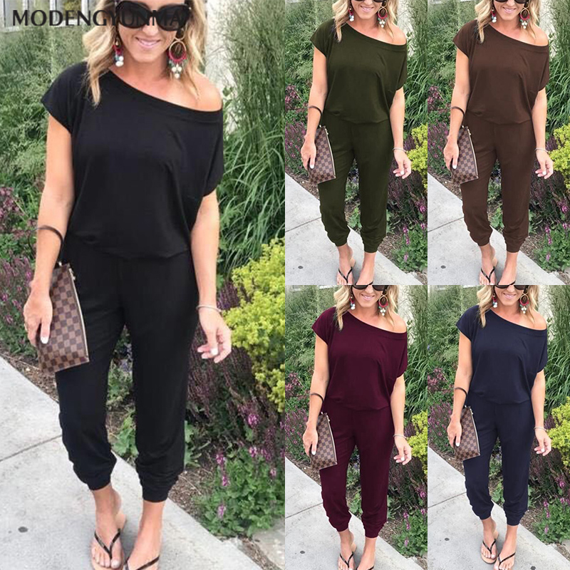 New Cotton Jumpsuits For Women 2020 Summer Casual High Waist  One Piece Peplum Rompers With Long Wide Leg Pant