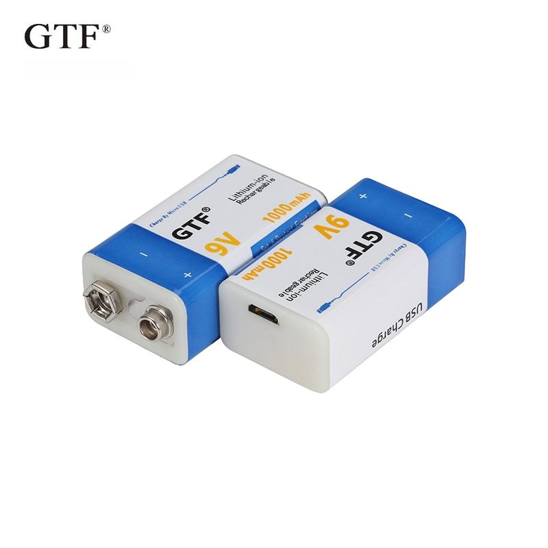 Литий-ионная аккумуляторная батарея 9 В, 1000 мАч, батареи Micro USB 9 В, литиевая батарея для мультиметра, микрофона, игрушки, пульта дистанционног...