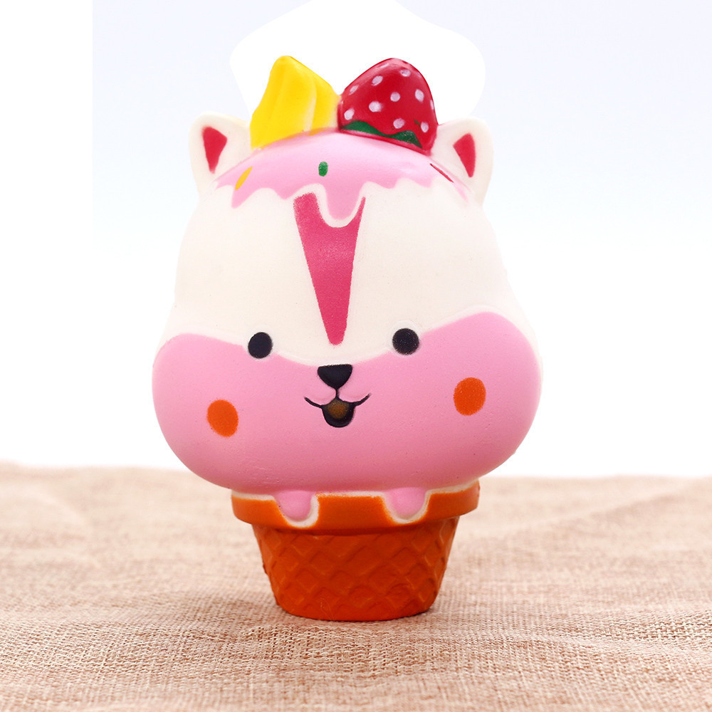 Squishy Soft Slow Rising Squeeze Ice Cream Pressure Relief Kids Toys Gift Animals Squirrel Adults Healing Anti-stress Toys #B