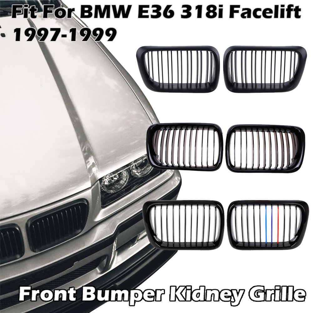Front Bumper Kidney Grille Single Dual Slat Grilles Fit for BMW E36 318i 323i 1997 1998 1999 Car Accessories Replacement Part