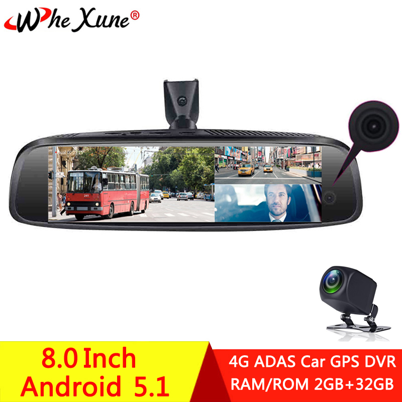 WHEXUNE 4G <font><b>ADAS</b></font> Full HD 1080P 3 <font><b>Camera</b></font> <font><b>Car</b></font> <font><b>DVR</b></font> Dash Cam GPS navigation DashCam Android Special Bracket <font><b>Rearview</b></font> <font><b>Mirror</b></font> Recorder image