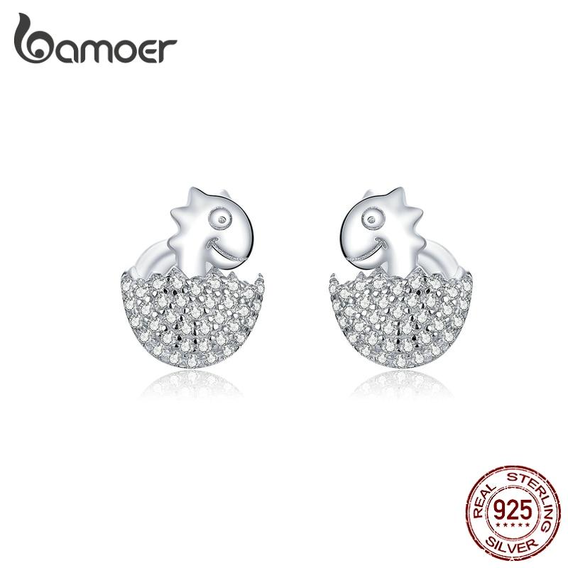 bamoer 925 Sterling Silver Jewelry Dazzling CZ Paved Baby Dinosaur in Eggs Stud Earrings for Women Statement Jewelry BSE354